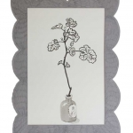 Geranium in a small French Pot 2014 black ink on Arches paper mounted in a grey cut out frame with graphite 32x24 ins