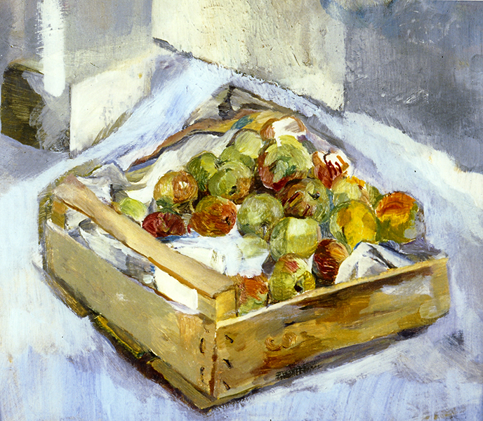 Isobel Brigham 1990, Apples in a Box oil on canvas 10x12 ins