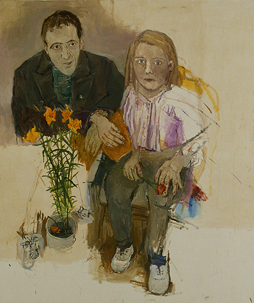 Isobel Brigham, Hamish Robinson and Isobel Brigham Double Portrait Chelsea 1980s oil on canvas 72x60 ins