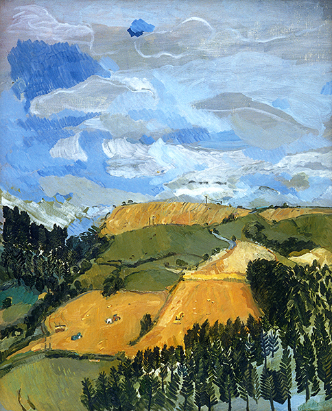Isobel Brigham, Harvesting, view from Treskelly Farm Port Eliot 2000 oil on canvas