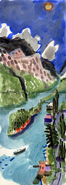 Isobel Brigham Lake Como watercolour view from Casa Ecco Italy 2003 watercolour on two sheets of A5 paper