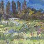 Isobel Brigham - Meadow on the River Arun 1998