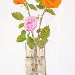 Isobel Brigham - Orange Roses in a Glass Vase 2005