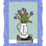 Isobel Brigham - Purple Tulips in a Jug on a Brick 2014