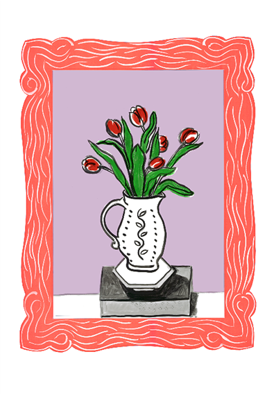 Isobel Brigham Red Tulips in a Jug on a Brick 2014 screen print in 5 colours, Edition of 12 printed by K2 on Arches paper 100x70 cm