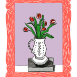 Isobel Brigham - Red Tulips in a Jug on a Brick 2014