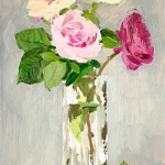Isobel Brigham - Roses in a Glass Vase with a Fallen Leaf 2005