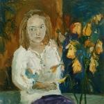 Isobel Brigham - Self portrait with Daffodils