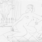 Studio Nude 2 2010 Ink on Ingres paper 12x17 ins