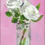 Isobel Brigham - White Roses on a Pink Background 2005
